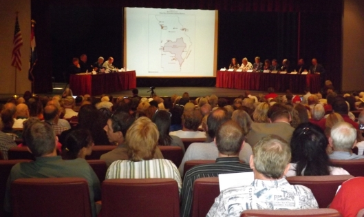 A crowd of more than 400 attended the Congressional subcommittee hearing on the Blueway designation of the White River Watershed. The committee hearing was held at the West Plains, Mo., Civic Center Theater Monday afternoon. Testimony was taken from public officials from both Missouri and Arkansas and a public watchdog group. (Hill 'n Holler staff photo by Mariann Hyslop)