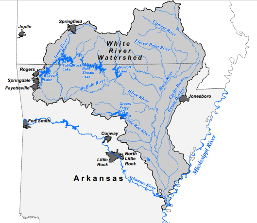 A map showing rivers and lakes in the White River Watershed Basin recently designated by the Department of the Interior's hush hush Blueway project. Some of these rivers include the Current River, the Eleven Point River,  Black River, James River, Beaver Lake, Lake Norfork, Table Rock Lake, Bull Shoals Lake, Greers Ferry and more in the States of Arkansas and Missouri — taking in the Ozarks region originally targeted by the Biosphere Reserve federal land grab project in 1996. The Blueway designation was rescinded on July 3.