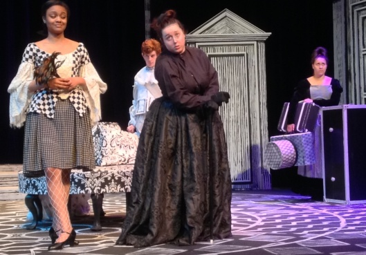 "Rehearsing for the ASU production of ""Tartuffe are, from left, Jaelyn Epps of Little Rock as Dorine, Jeremy Smith of Dumas as Damis, Brooke Johnson of Jonesboro as Pernelle, and Payton Overturf of Cabot as Flipote.  (ASU photo)"
