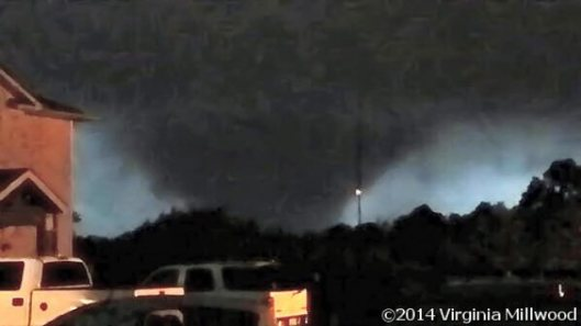 A wedge tornado was witnessed at Vilonia (Faulkner County) Sunday. (Photo by Virginia Millwood via the Little Rock office of the National Weather Service)