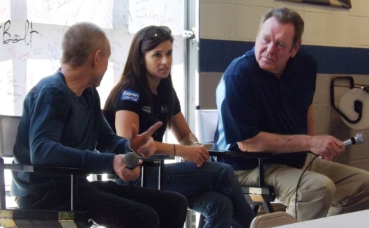 Mark Martin, Danica Patrick and Buddy Baker talked to the fans and each other during the Q & A session. (Staff photo by Mariann Hyslop)