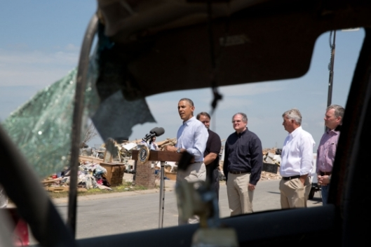 President Barack Obama delivers a statement regarding the recent tornadoes and severe storms in central Arkansas, in Vilonia, Ark., May 7, 2014. (Official White House Photo by Pete Souza)