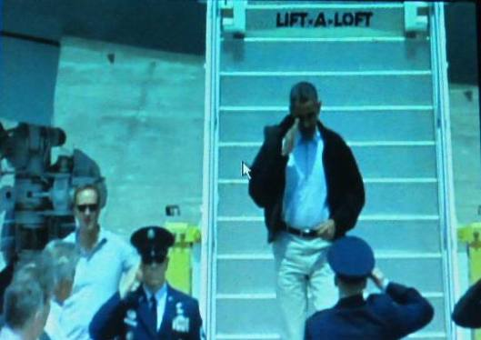 President Obama gets off Air Force One at Little Rock Air Force Base in Jacksonville.