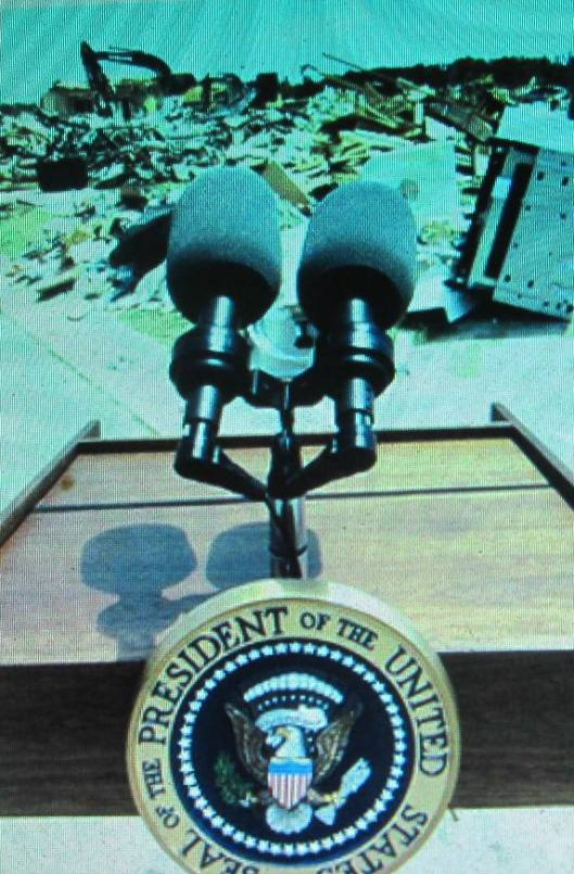 The view of damage from the President's podium