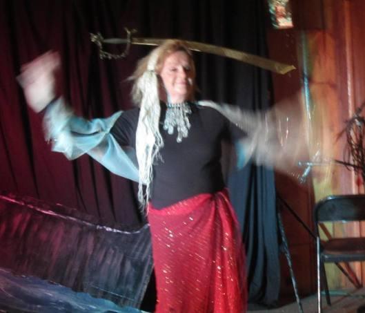RTO's Vera Martin does a sword dance.