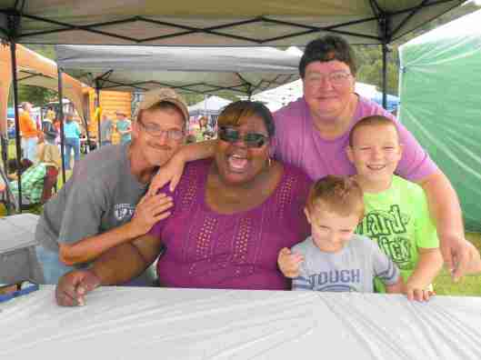 """Big Juicy from truTV's """"Lizard Lick Towing"""" with fans Joey Strickland, Nancy Strickland, Logan and Dylan from Clyde, North Carolina."""