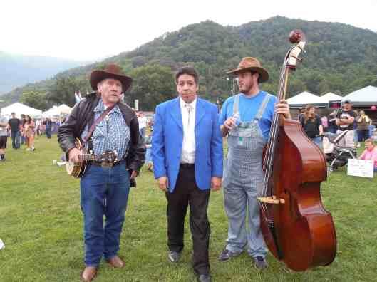 Bluegrass banjo legend Raymond Fairchild, (left), manager John Locust and bass player Nick Ball.
