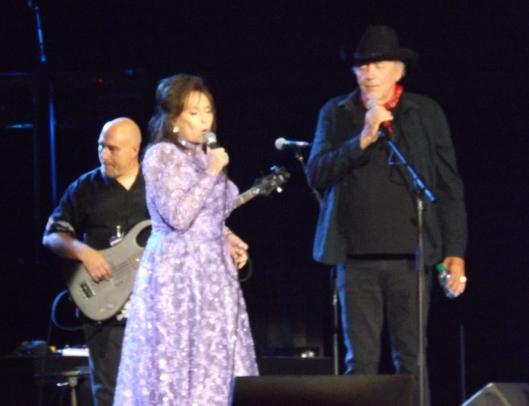 "Loretta Lynn joins Bobby Bare to sing ""God Bless America Again."" (Staff photo by Mariann Hyslop)"