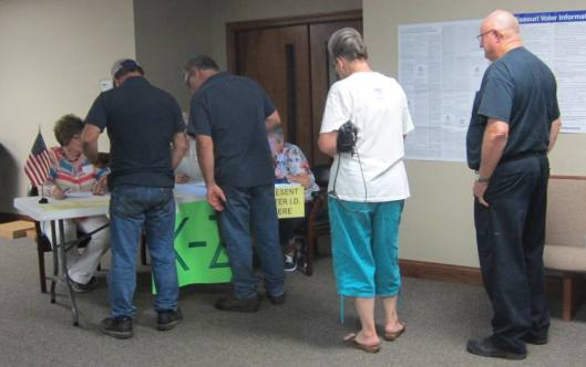 Voter turnout was heavy at the combined Thayer Ward 1 and 2 for Tuesday's Missouri Primary election. With two hours to go, the vote total was 466 persons. (Hill 'n Holler staff photo)