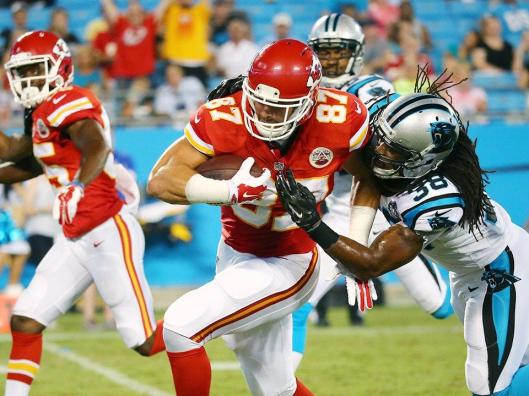 Rookie Chiefs Tight End Travis Kelce scored a touchdown in the second half Sunday to momentarily put Kansas City ahead 16-14 (Kansas City Chiefs photo)