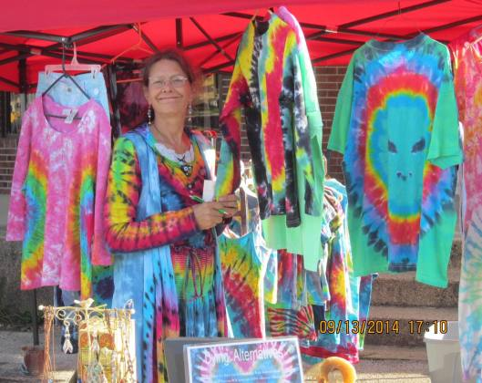 Nina Connolly of Houston, Mo., sold tie dyed items at her Dying Alternatives booth. (staff photo)