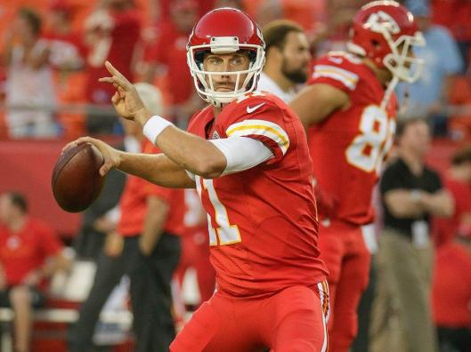 Chiefs quarterback Alex Smith gets ready to pitch the ball. Monday was definitely one of his better nights. (Kansas City Chiefs photo)