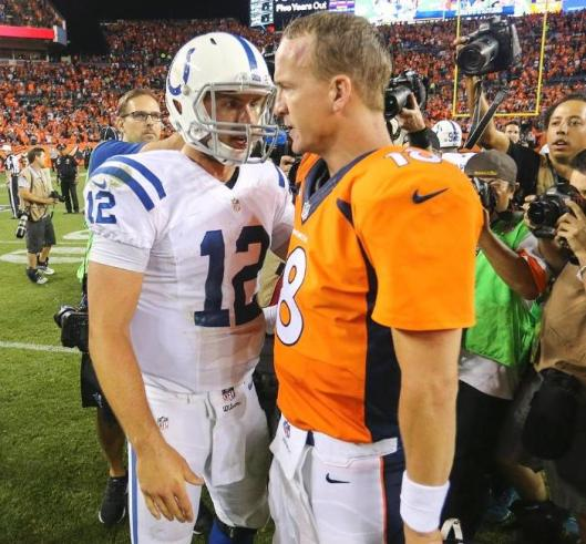 Colts quarterback Andrew Luck and Broncos quarterback Peyton Manning after the game Sunday night.  (Denver Broncos photo)