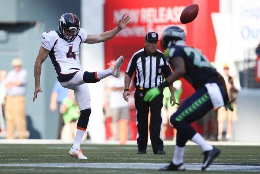 Bronco Britton Colquitt punts. (Denver Broncos photo)