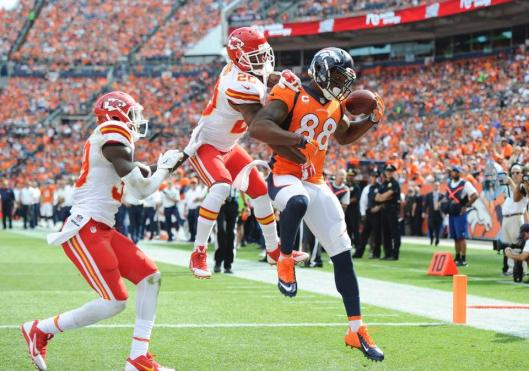 Bronco wide receiver Demaryius Thomas scored a 15-yard touchdown Sunday. (Denver Broncos photo)