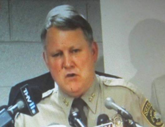 Pulaski County Sheriff Doc Holladay addresses a press conference Tuesday.