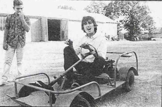 George Harrison on a go kart at the Pigman Ranch