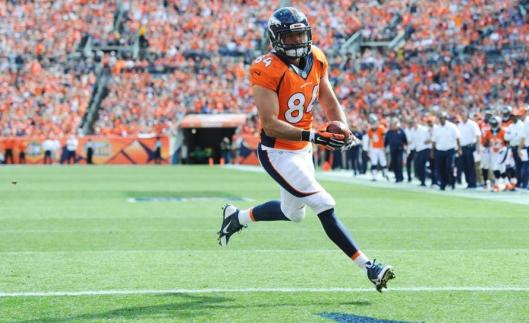 Broncos tight end Jacob Tamme scored Denver's second touchdown Sunday. (Denver Broncos photo)