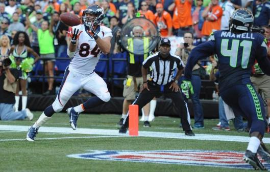 Bronco tight end Jacob Tamme scored a touchdown near the end of regulation play against the Seahawks in Seattle Sunday. With a successful two-point conversion, that tied the game. (Denver Broncos photo)