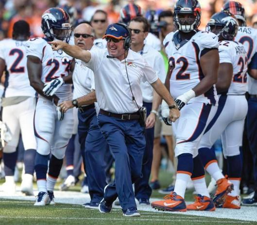 Bronco Coach John Fox had reason to be happy at the end of regulation play. (Denver Broncos photo)