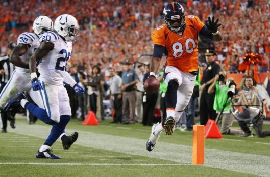 Bronco tight end Julius Thomas scored three touchdowns in the first half of the game against the Indianapolis Colts Sunday night.  (Denver Broncos photo)