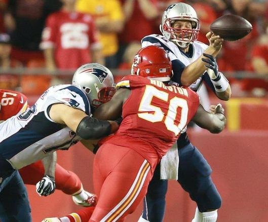 Justin Houston sacks quarterback Tom Brady.  (Kansas City Chiefs photo)