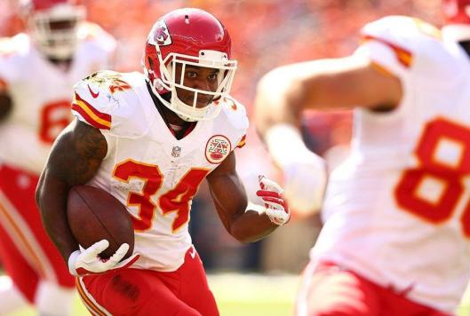 Former Arkansas Razorback and Chiefs running back Knile Davis, filling in for the injured Jamaal Charles, scored two touchdowns in the game against the Denver Broncos Sunday (Kansas City Chiefs photo)