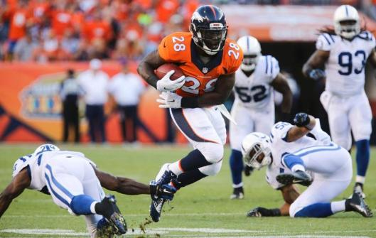 Bronco running back Montee Ball scored a touchdown for Denver in the third quarter Sunday night.  (Denver Broncos photo)