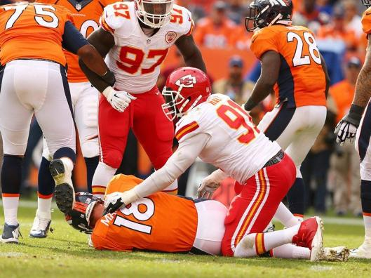 Chiefs linebacker Tamba Hali sacked Denver quarterback Peyton Manning Sunday.  (Kansas City Chiefs photo)