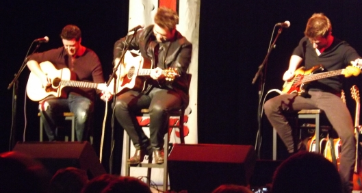 The Swon Brothers, middle and right, with a friend, left, opened for Big & Rich.
