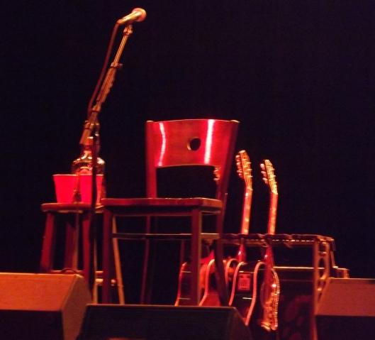 Guitar display on stage at the Gillioz