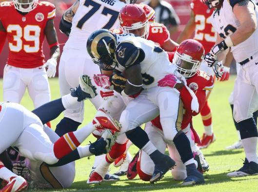 Rams quarterback Austin Davis was sacked seven times by the Chiefs Sunday. (Kansas City Chiefs photo)