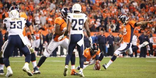 Bronco Brandon McManus tries to kick a field goal. (Denver Broncos photo)