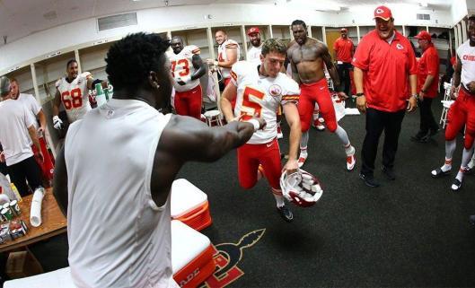 Chiefs kicker Cairo Santos is congratulated after the game Sunday. (Kansas City Chiefs photo)