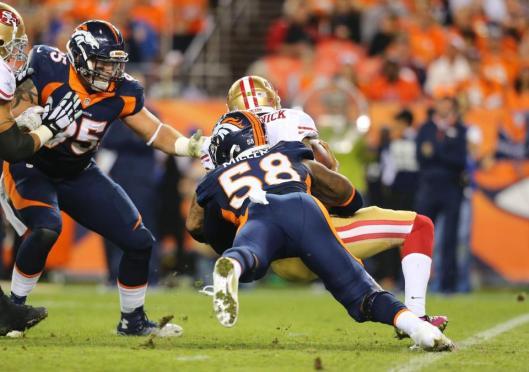 Bronco linebacker Von Miller sacks 49ers quarterback Colin Kaepernick.  (Denver Broncos photo)