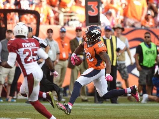 Broncos wide receiver Demaryius Thomas has a career high 226 yards Sunday and scored two touchdowns. (Denver Broncos photo)