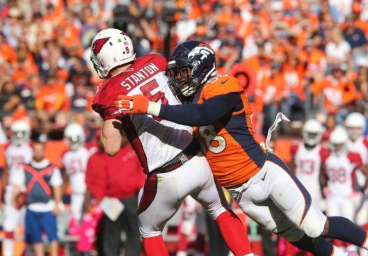 Cardinals quarterback is sacked by Bronco Von Miller. (Denver Broncos photo)