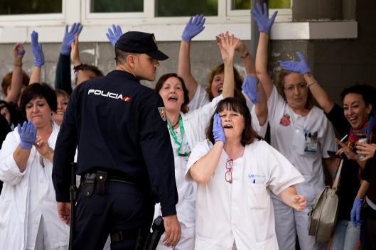 Nurses of Carlos III hospital, where nurse Teresa Romero is being treated for the Ebola