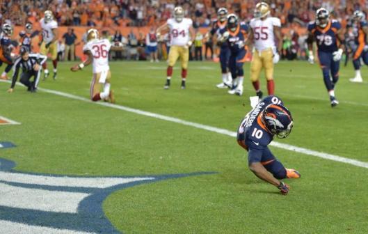 Bronco wide receiver Emmanuel Sanders scored Denver's first touchdown Sunday. (Denver Broncos photo)