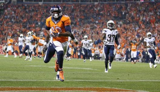 Broncos wide receiver Emmanuel Sanders scored three touchdowns in the game against the San Diego Chargers. (Denver Broncos photo)
