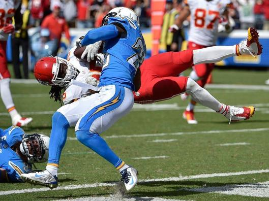 Despite efforts to stop him, Chiefs running back Jamaal Charles literally flew into the end zone Sunday in the game against the San Diego Chargers. (Kansas City Chiefs photo)