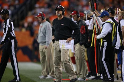 San Francisco Head Coach Jim Harbaugh was not a happy camper Sunday. (San Francisco 49ers photo)
