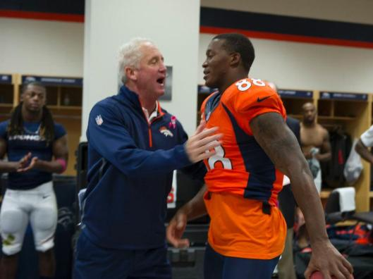 After the game Sunday Broncos Head Coach John Fox thanks Demaryius Thomas for his role in the win. (Denver Broncos photo)