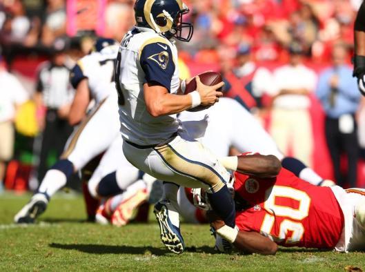 Chiefs linebacker Justin Houston sacked Rams quarterback Austin Davis three times Sunday. (Kansas City Chiefs photo)