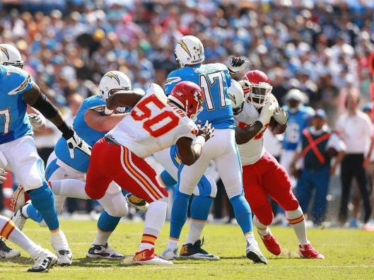 Chiefs linebacker Justin Houston is about to sack San Diego quarterback  Philip Rivers. (Kansas City Chiefs photo)