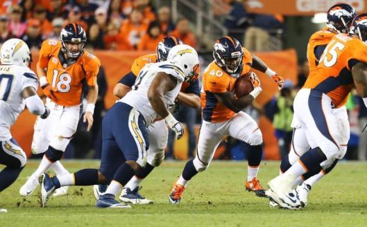 Bronco rookie wide receiver Juwan Thompson scored two touchdowns Thursday. (Denver Broncos photo)