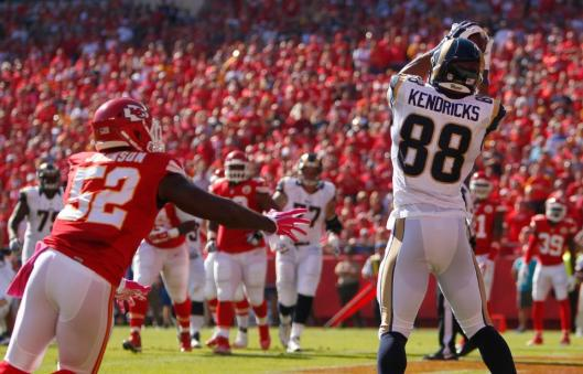 Rams tight end Lance Kendricks scored the only St. Louis touchdown at the beginning of the game Sunday.  (St. Louis Rams photo)