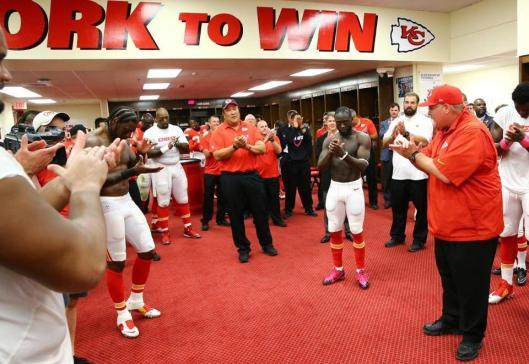 A jubilant Chiefs locker room after the game Sunday (Kansas City Chiefs photo)
