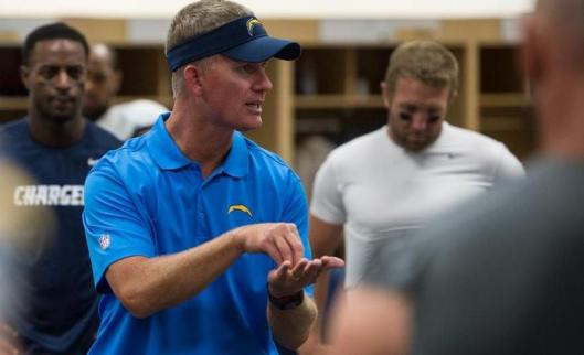 Chargers Head Coach Mike McCoy talks to his team after the game Thursday. (San Diego Chargers photo)