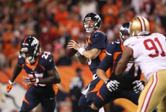 Broncos quarterback Peyton Manning is ready to throw a pass Sunday. (Denver Broncos photo)